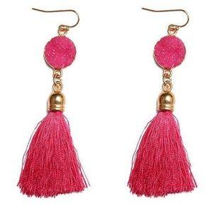 Jewelry - NEW! Druzy Tassel Fringe Boho Earrings PINK